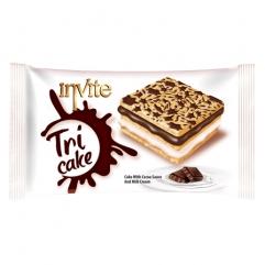 INVITE TRI CAKE prajitura cu sos cacao si crema de lapte 50gr