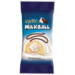 INVITE MILKBALL prajitura vanilie cu crema lapte si glazura lapte 50gr
