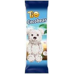 TIO COCOBEAR  prajitura  ursulet cu glazura de ciocolata alba si fulgi de cocos 50g