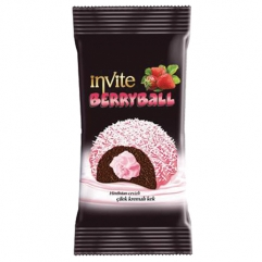 INVITE BERRYBALL strawberry and coconut coated cocoa cake with strawberry cream 50gr