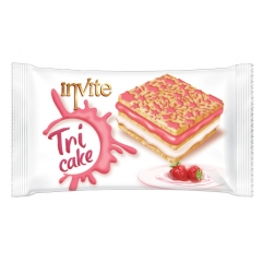 INVITE TRI CAKE prajitura cu sos capsuni si crema de lapte 50gr