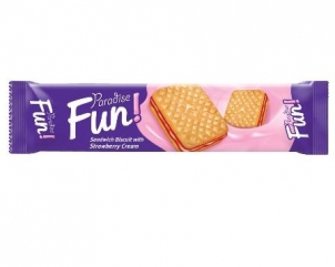 PARADISE FUN sandwich biscuits with strawberry cream 70gr