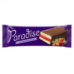 PARADISE prajitura cu glazura de cacao si  crema capsuni 25gr