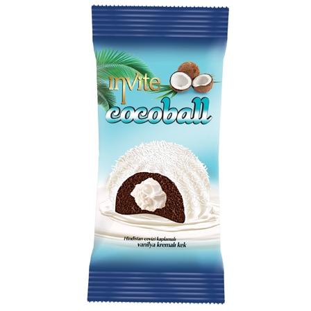 INVITE COCOBALL prajitura cacao cu crema lapte si glazura cocos 50gr